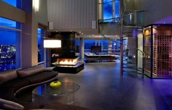 luxuriöse einrichtungsideen neon beleuchtung rundes sofa rundtisch