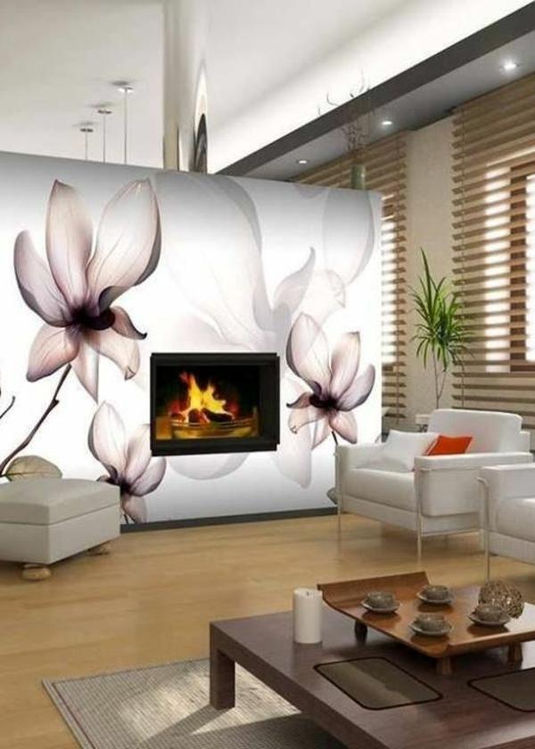 luxuriöses wohnzimmer kamin wanddeko mit blumen sessel dekoration