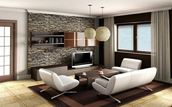 luxuriöses wohnzimmer steinwand dekoration tv schrank sitzecke