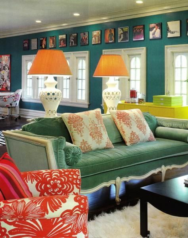 luxus extravagant wohnzimmer wandfarben tischlampen