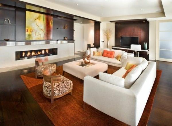 luxus wohnzimmer art wanddeko weißes tier gemusterte möbel