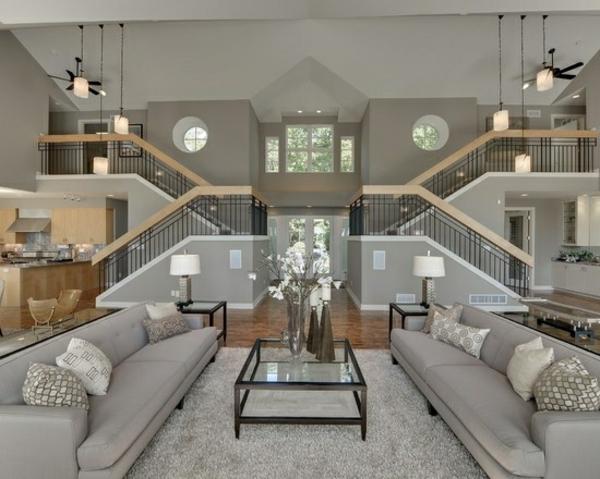 luxus wohnzimmer modern:luxus wohnzimmer auf 2 ebenen sofas glastisch dekoideen