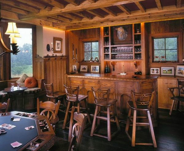 luxus wohnzimmer gestalten aus holz würfeltisch bar