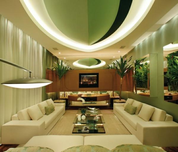 luxus wohnzimmer gestalten in grün decke dekoration glastisch