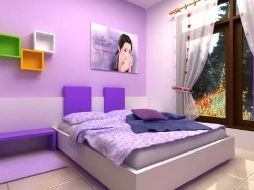 mädchen kinderzimmer farbgestaltung fürs jugendzimmer lila farben bett fenster