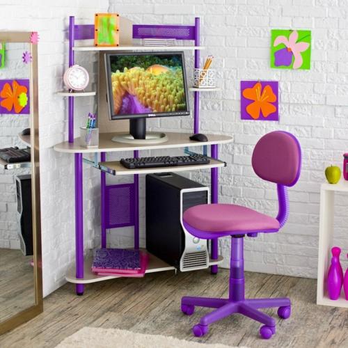 mädchen schreibtisch bürostuhl farbgestaltung fürs jugendzimmer lila rosa farben