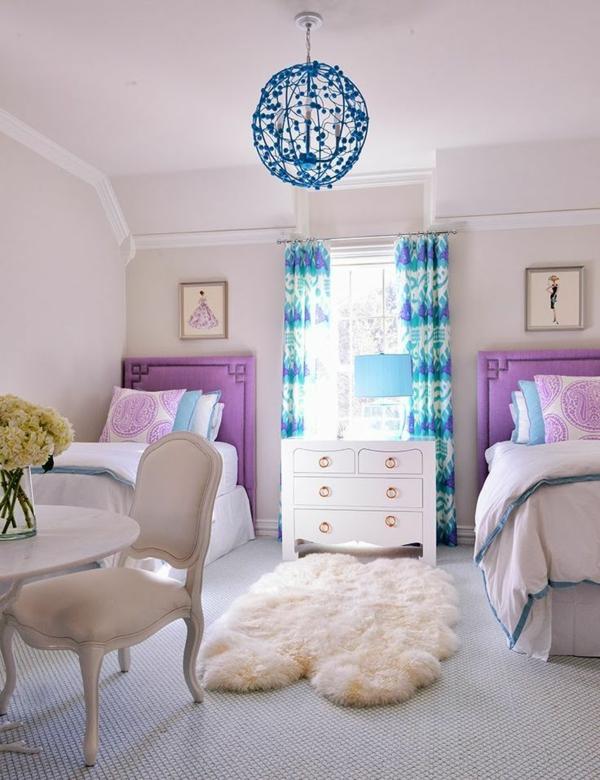 mädchenzimmer gestalten 2 betten teppich stuhl