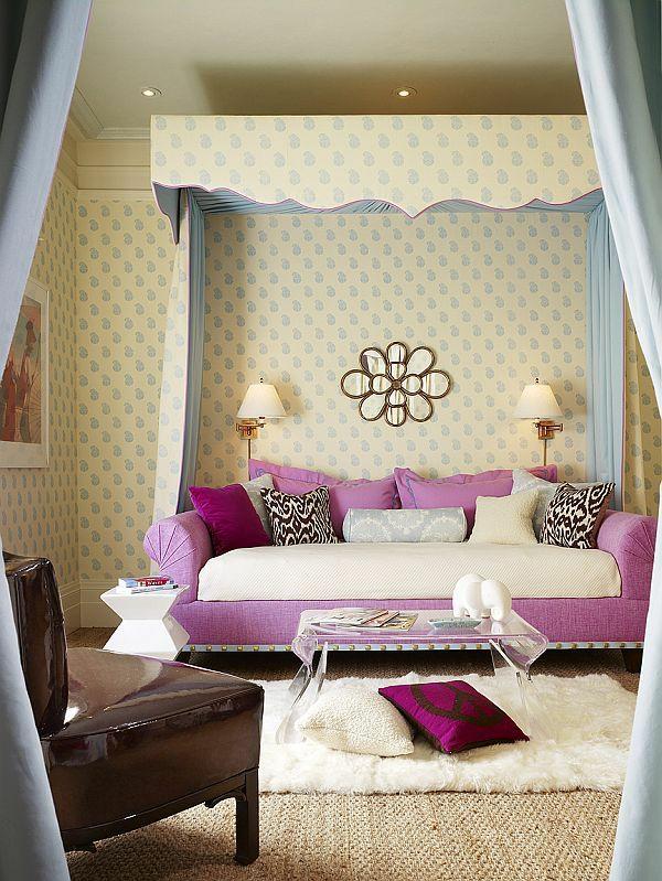 mädchenzimmer gestalten farbmix ungewöhnlich sofa