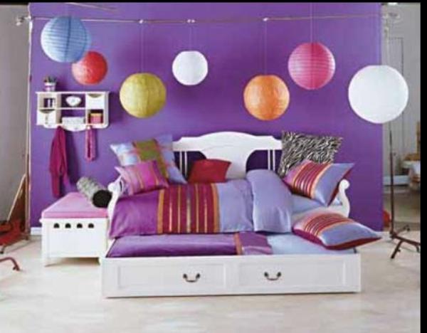 mädchenzimmer gestalten paradies schöne farben bett pendelleuchten