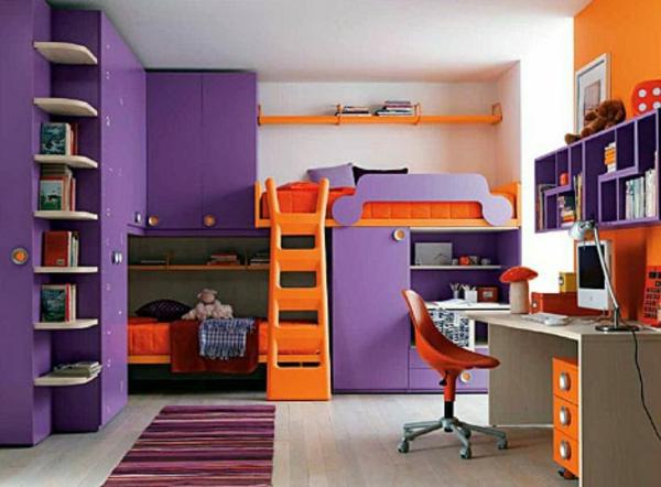 mädchenzimmer gestalten weiße wände lila schrank orange