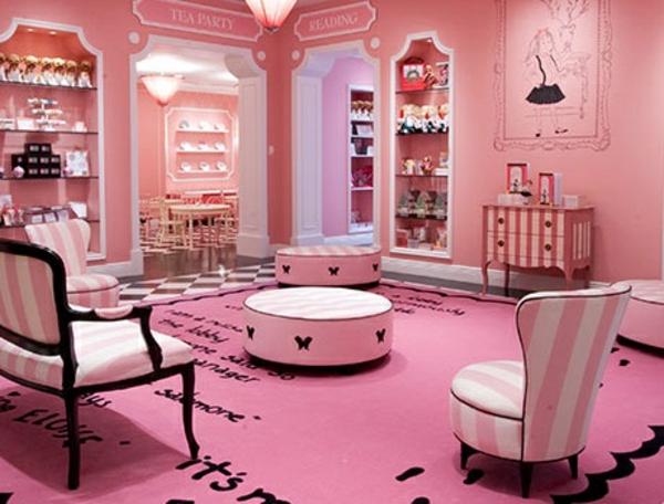 mädchenzimmer gestaltenungideen rosa flair runde hocker