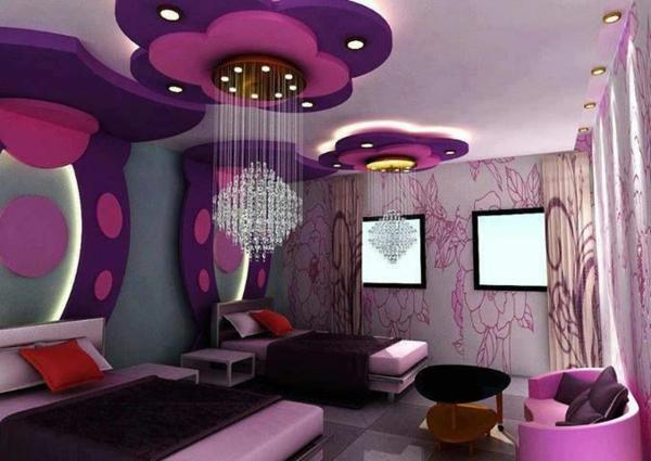 mädchenzimmer gestaltungsideen lila blumen kronleuchter