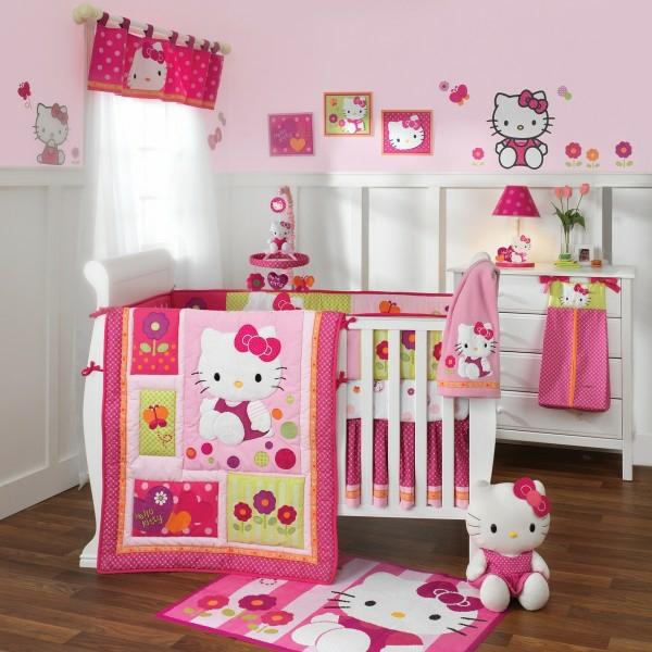 mädchenzimmer rosa decke babywiege spielzeug