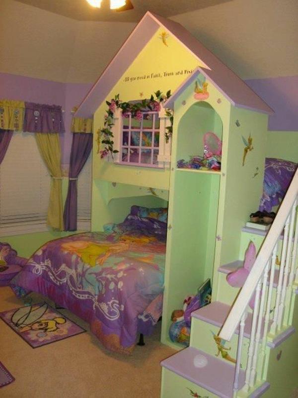 märchenhafte kinderzimmergestaltung bett treppe