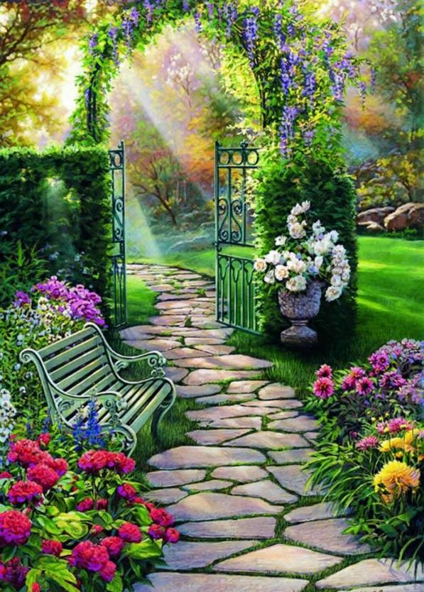 magischer garten sitzbank kletterpflanzen