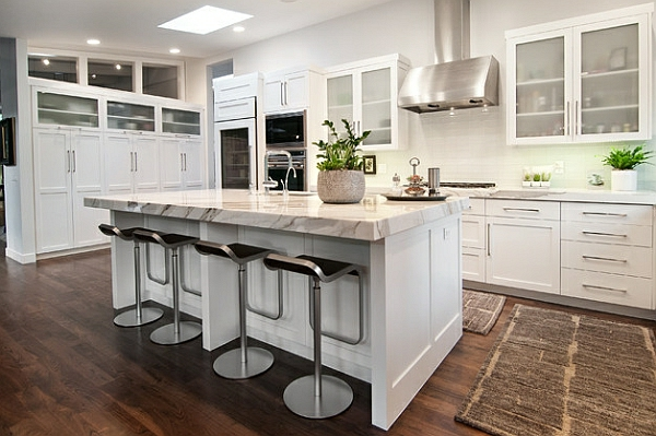 küchenmöbel raum marmor kücheninsel kücheneinrichtung