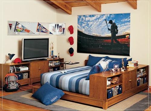 maskulin jungen blau streifen farbgestaltung fürs jugendzimmer bett matratze