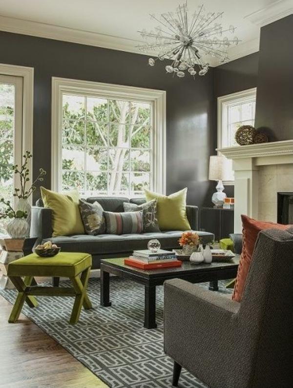 Wohnzimmer Blau Grau: Ledersofa wohnzimmer farbtrends. Wandfarbe Grau ...