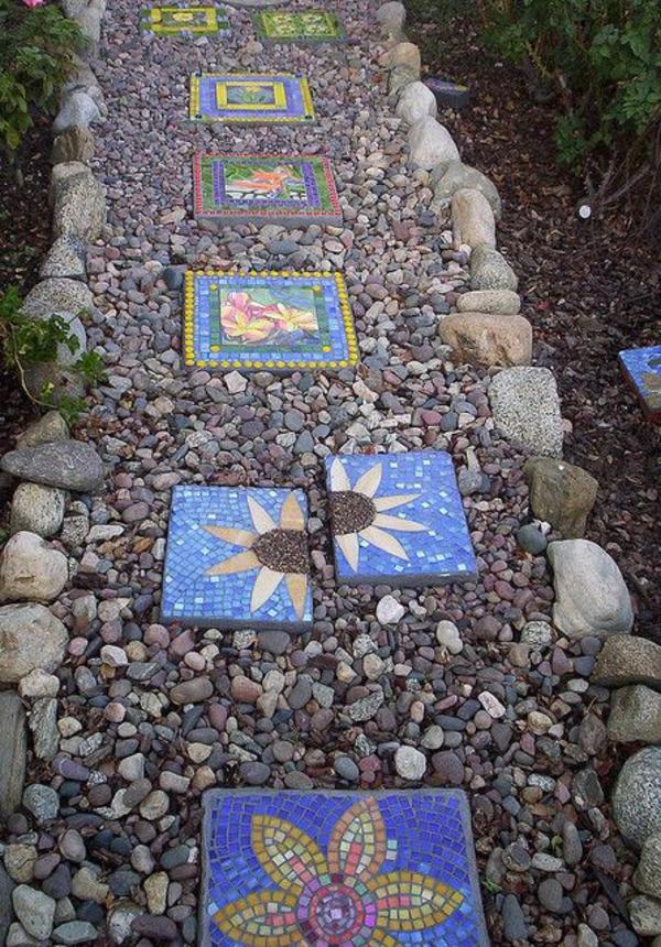 mehrförmige steine steingarten pfad mosaik