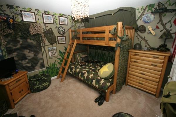 militär inspiriertes jungenzimmer stockbett