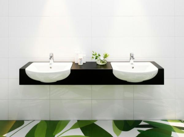 minimalistisch contemporary waschbecken grün bodenbelag