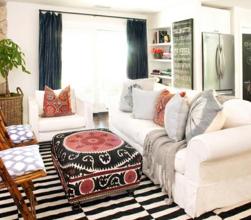 muster texturen mischen streifen teppich gardinen sofa kissen