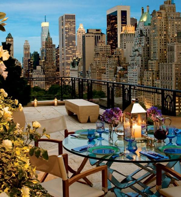 balkon gestaltung new york glastisch stühle dekoration