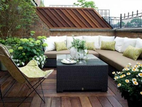 modern balkongestaltung design rattanmöbel sitzecke dekoideen
