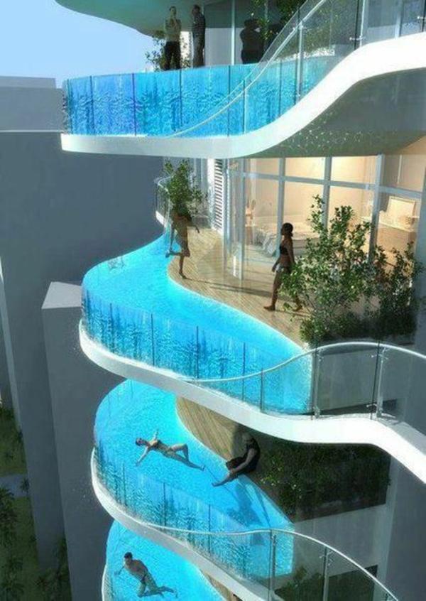 modern balkongestaltung pool auf der terrasse