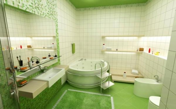 modern einrichtung bad frisch grün fliesen