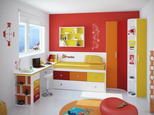 kombineirt farbgestaltung modern jugendzimmer rot orange gelb