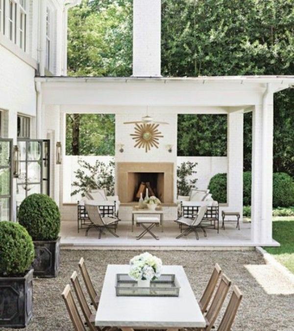 moderne terrassengestaltung tisch designideen stühle