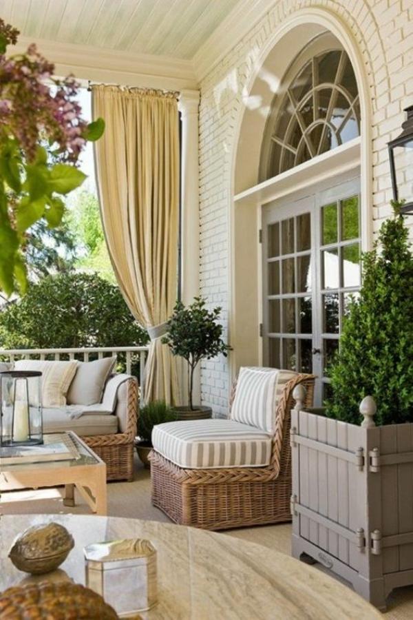 modern veranda gestalten möbel rattan dekoration sessel