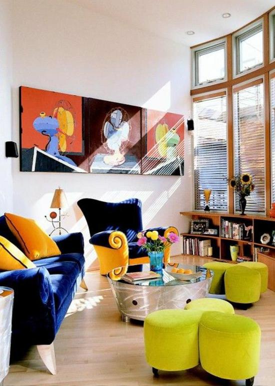 modern wohnzimmer gestalten farbgestaltung designer möbel kunstwerke wanddeko