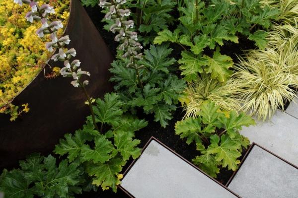 moderne architektur pflanzen in grün und gelb