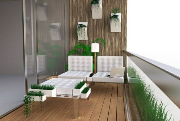 moderne balkongestaltung design weiße möbel grüne pflanzen