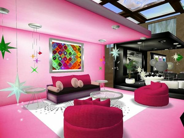 moderne dekoideen accessoires rosa weiß decke