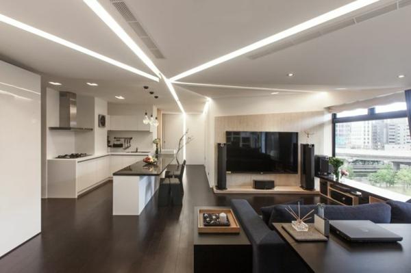 moderne einrichtung küchennische bar schwarzes sofa