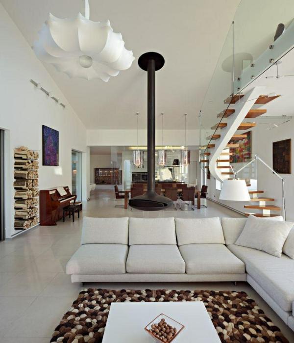 moderne einrichtungsideen weißes sofa dekoteppich tisch