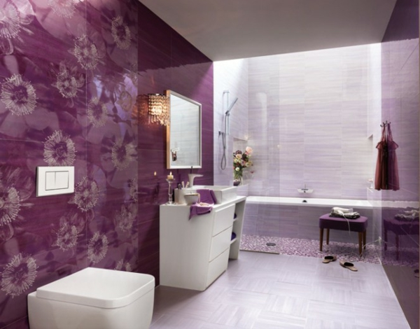 moderne fliesen glanz lila blumenmuster badezimmermöbel