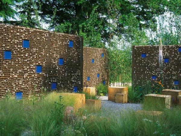 moderne garten design ideen blaue  flecken sitzgelegenheiten