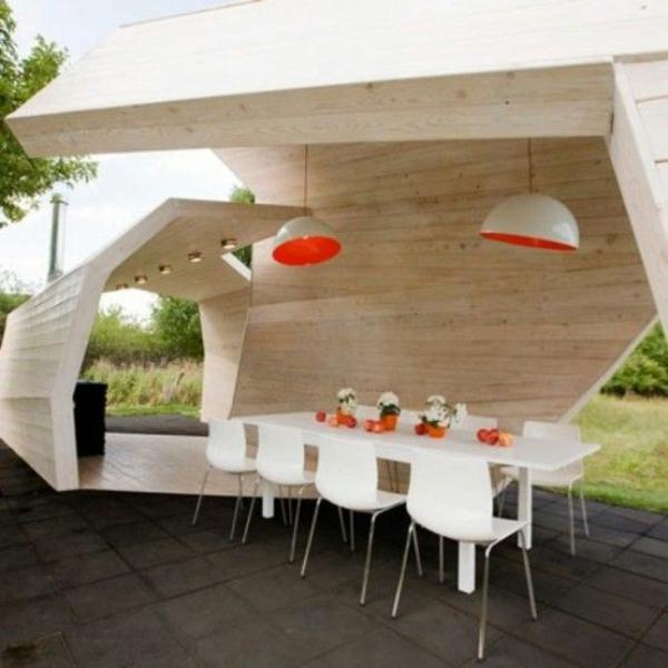 moderne terrasse gesatlete designideen esstisch pendelleuchten