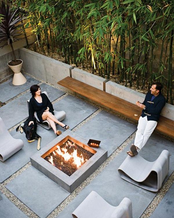 moderne terrasse gestalten steinmöbel holzbank
