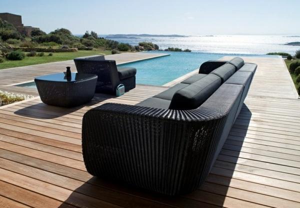 moderne terrasse gestalten zeitgenössisch möbel rattan