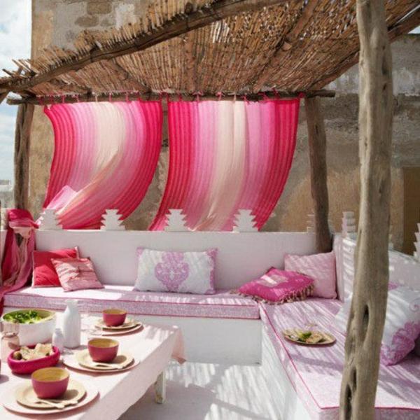 moderne terrasse urlaub jeden tag rosa tassen teller