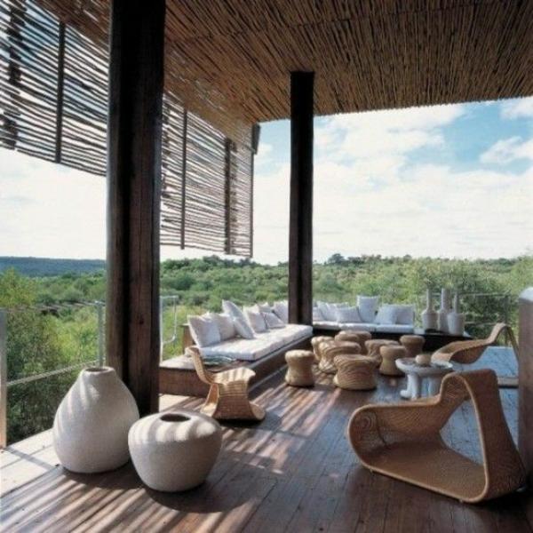 Moderne Terrassen Gestalten Korbmöbel Dekoration Sitzecke