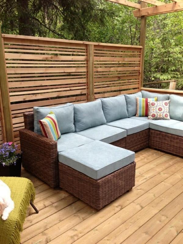moderne terrassengestaltung kormöbel textil sofa pergola wohnideen