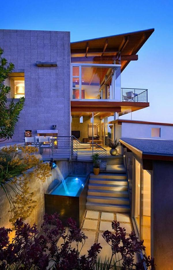 moderne terrassengestaltung wanne im freien treppen dekoideen betonplatten