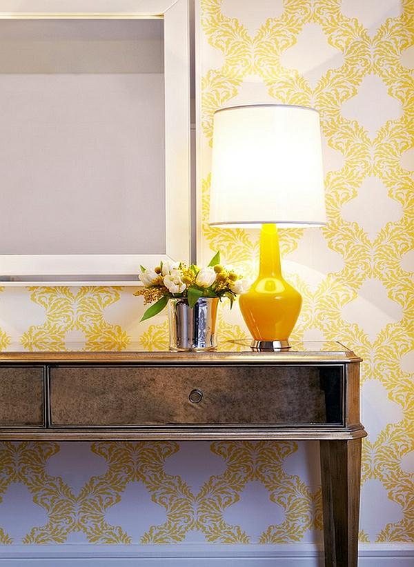moderne tischlampen gelb lampenfuß leuchtend schlafzimmer