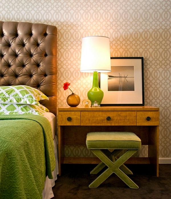 moderne tischlampen grün fuß glänzend schlafzimmer